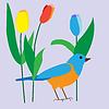 Vektor Cliparts: Ziervogel unter zarte Tulpen, Plakat,