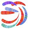 Vektor Cliparts: Reihe von dekorativen hellen Federn für Ihr Design