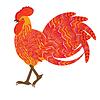 Vektor Cliparts: Red feurige Hahn Weihnachtssymbole, dekorative