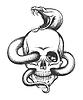 Schlange und Schädel-Stich