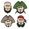 Векторный клипарт: Пиратский Талисман Лица Set