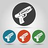 Flache Polizei stun gun Icons Set