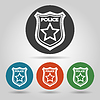 Flat police badge icon set | Stock Vector Graphics