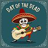 Vektor Cliparts: Tag der toten mexikanischen Musiker