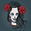 Vektor Cliparts: Mädchen mit Make-up Zuckerschädelentwurfs