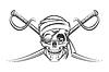 Piraten-Schädel und zwei Crossing Swords