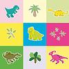 Dinosaurier in farbige Rechtecke