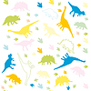 Ornament of multicolored silhouettes of dinosaurs | 向量插图
