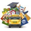 버스와 학교 개념 | Stock Vector Graphics