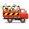 Векторный клипарт: Красный грузовик с Toolbox