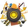 Bau-Konzept mit Rad