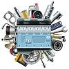 Motor Motor mit Autoersatzteile | Stock Vektrografik