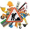 Straßenbau Konzept mit Zeichen | Stock Vektrografik