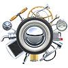Retro Autoteile-Konzept
