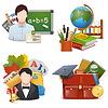 Schule-Konzept Icons Set
