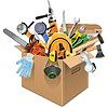 Векторный клипарт: Картонная коробка с инструментами