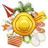 Векторный клипарт: Пляжные аксессуары с Hat