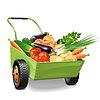 Векторный клипарт: Тачка с овощами