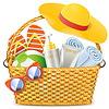 Векторный клипарт: Плетеные корзины с пляжные аксессуары