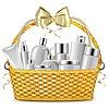 Векторный клипарт: Плетеные корзины с косметикой