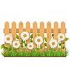 Векторный клипарт: Деревянный забор с ромашками