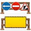 Barrieren mit Verkehrszeichen