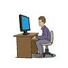 Векторный клипарт: пользователь ПК