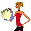 stilvolle Frauen halten Einkaufstüten