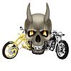 Вампир череп с клыками и мотоцикле | Векторный клипарт