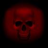 Schädel Vampir auf dunkelrotem Hintergrund