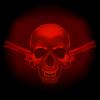 Schädel Vampir und Revolver auf dunkelrotem Hintergrund
