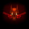 Schädel Vampir mit Reißzähnen Flammen und Revolver