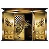 Traditionelle östliche Tor goldenen Drachen geöffnete Tür