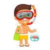 Junger Mann in der Swim-Maske hält Tasche mit Fisch