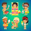 Glücklich Cartoon Characters on Beach