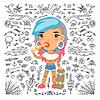 Cartoon Nette Tätowierung-Mädchen mit Skateboard