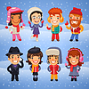Cartoon Characters in Winterkleidung