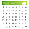Farm Linie Icons Set