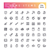 Game-Items Linie Icons Set