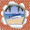 Backsteinmauer mit Sommer-Strand | Stock Vektrografik