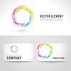 Visitenkarten Vorlage Set, abstrakte farbenfrohe circl