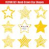Zestaw ręcznie rysowane kształty tekstury gwiazd | Stock Vector Graphics
