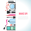 Make-up-Konzept Wohnung mit Kosmetik | Stock Vektrografik