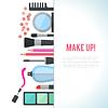 Make up koncepcji mieszkanie z kosmetykami | Stock Vector Graphics