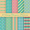 10 Vintage turquiose bez szwu wzorów. , Koniec | Stock Vector Graphics