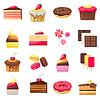 Set von fünfzehn köstliche Desserts