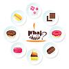 Set von leckeren Desserts. für Dessertkarte