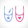 Śliniak dla dziecka w kolorze niebieskim i różowym | Stock Vector Graphics