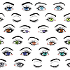 Set of female eyes and brows seamless pattern | Stock Vector Graphics