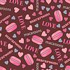 Jednolite wzór z smaczne makarony, serca i | Stock Vector Graphics
